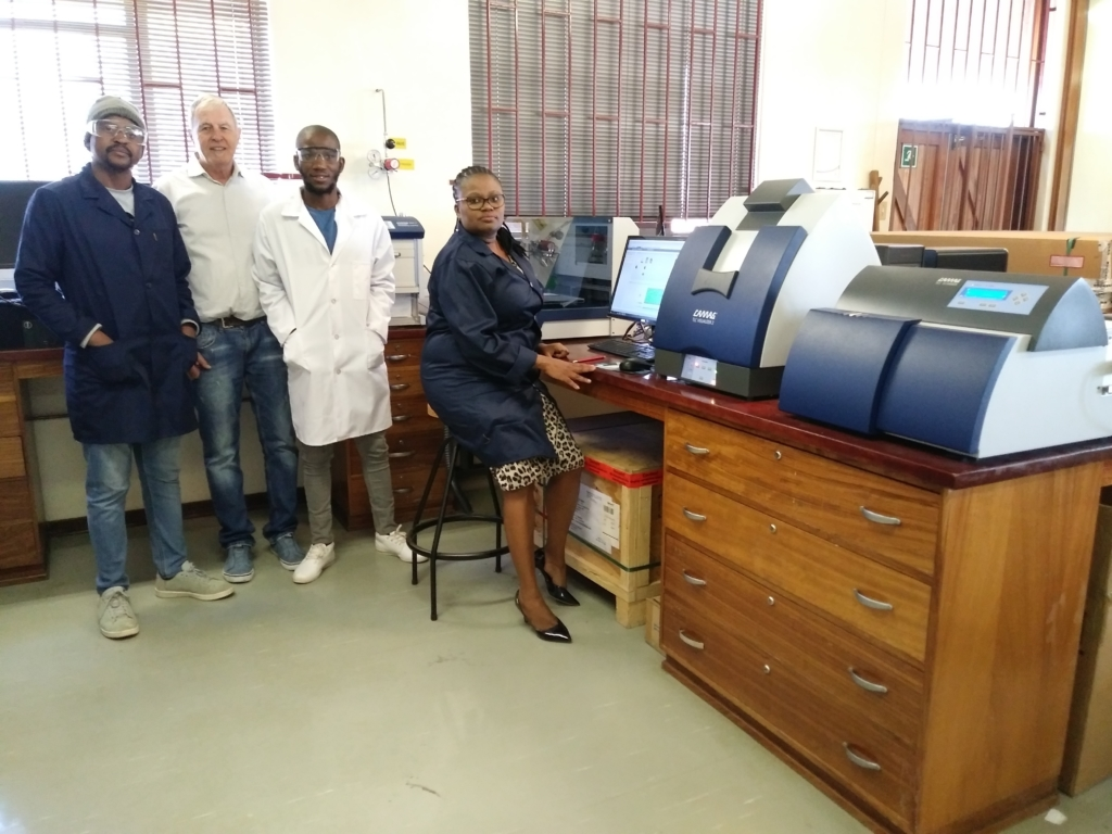 From Left to Right:Mr Pule Seboletswe (MSc student), Mr Bruno Steiner, Mr Michael Nengwekhulu (Principal technician) and Dr Zimbili Mkhize.